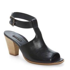 Black leather Paul Green peep toe sandal size 7